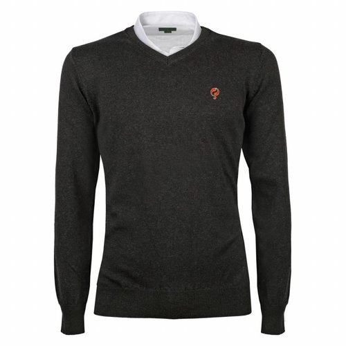 Heren Pullover V-neck Marden Antracite Orange / Silver