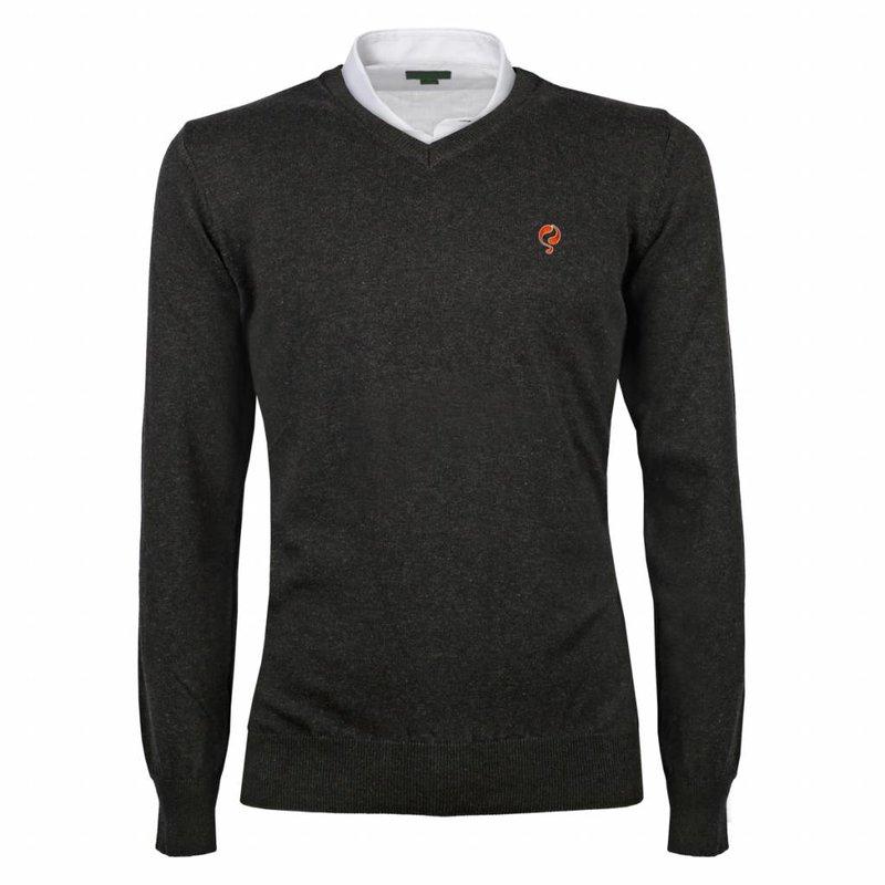 Heren Pullover V-neck Marden Antracite Orange / Silver
