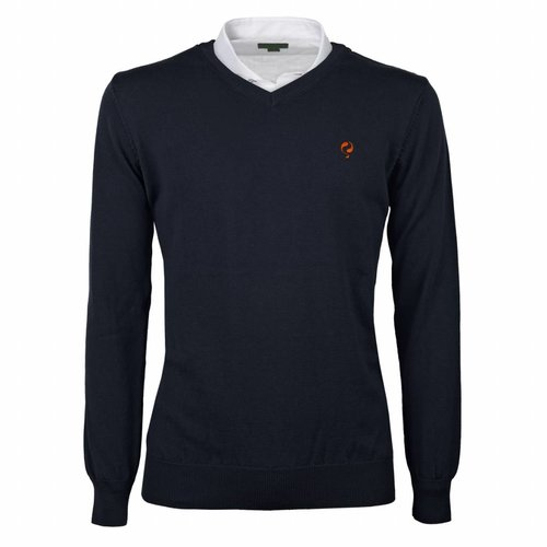 Heren Pullover V-neck Marden Deep Navy Orange / Navy