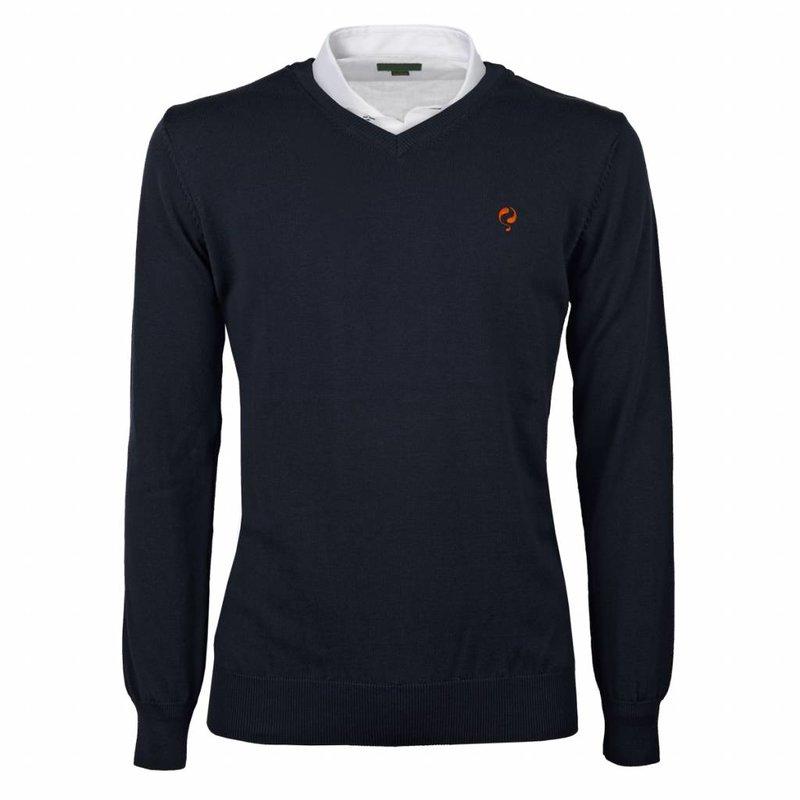 Heren Pullover V-neck Marden Deep Navy Orange / Navy
