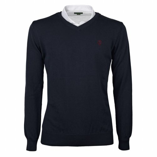 Heren Pullover V-neck Marden Deep Navy Navy / Red