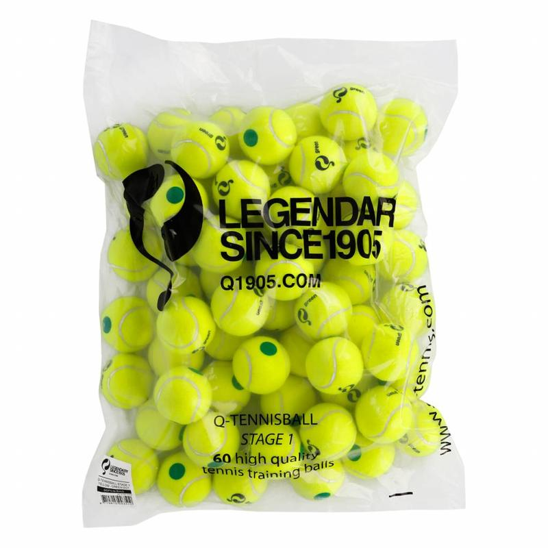 Q-Tennis Ball ST1 60pcs/bag Yellow-Green Dot