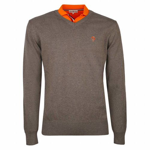 Men's Pullover V-neck Marden Mid Brown
