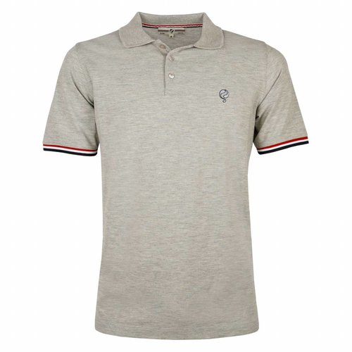 Heren Polo Bloemendaal Grey Melee - Silver / Deep Navy
