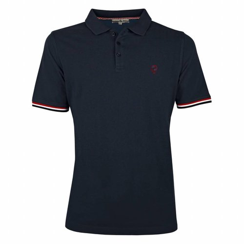 Heren Polo Bloemendaal Deep Navy - Deep Navy / Red