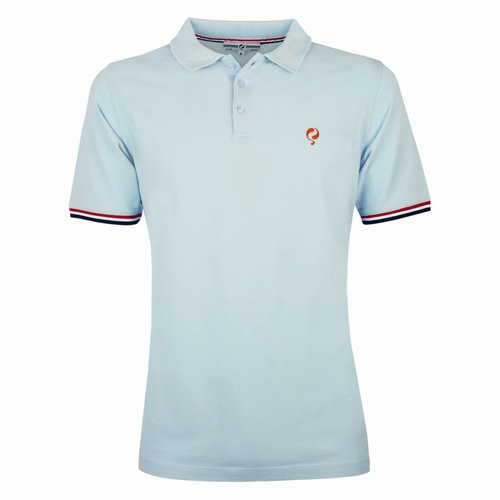 Heren Polo Bloemendaal Skyway Blue - Orange / Silver