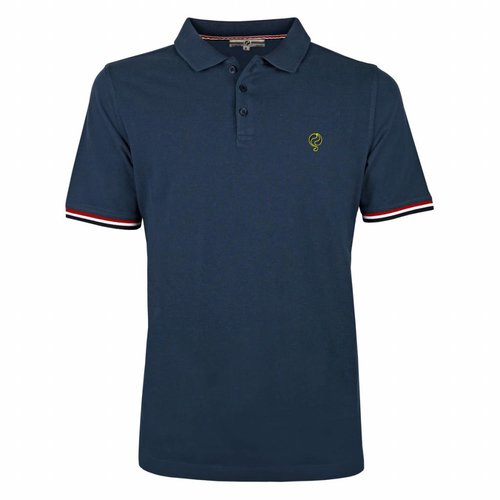 Men's Polo Shirt Bloemendaal Denim Blue  - Deep Navy / Neon Yellow