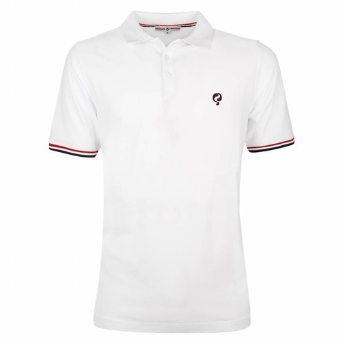 Heren Polo Bloemendaal White - Deep Navy / Red