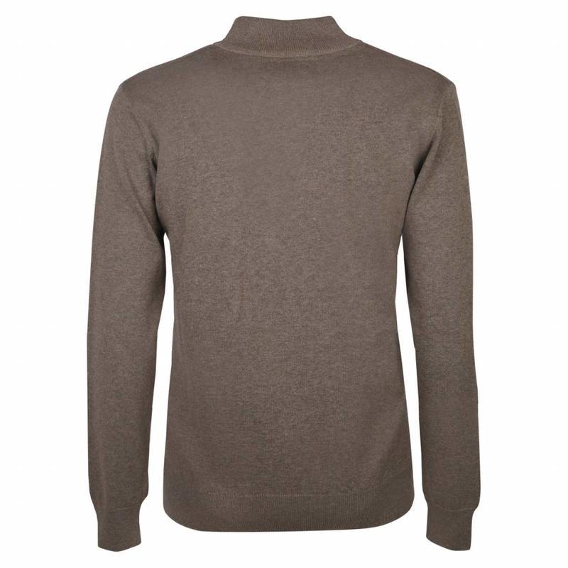 Heren Pullover Half Zip Stoke Mid Brown