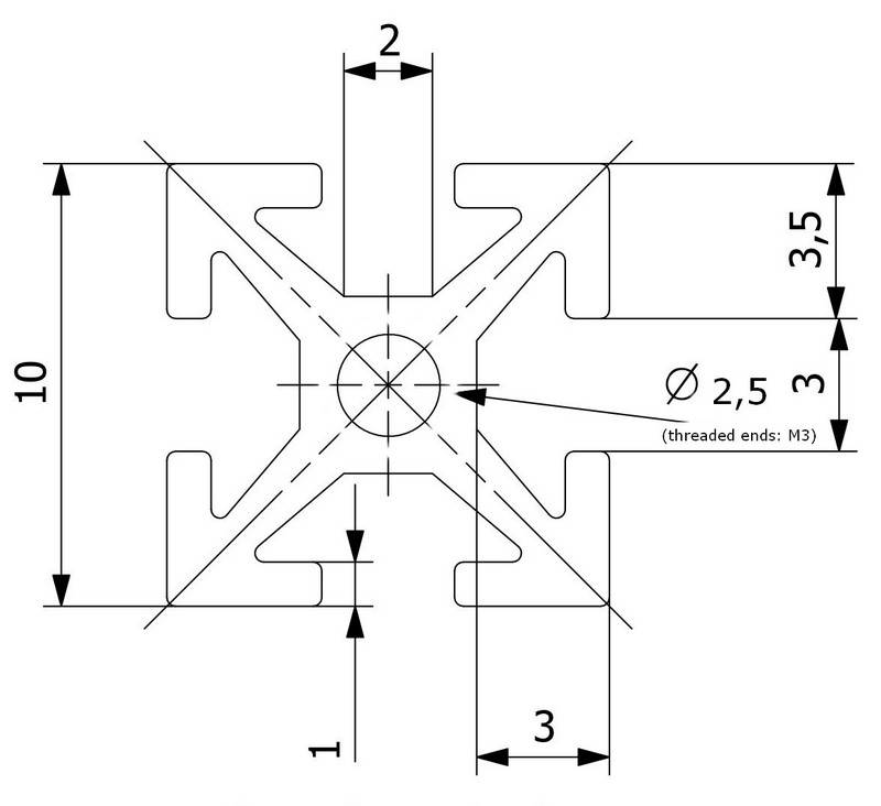 MakerBeam - 10x10mm aluminum profile 1 piece of 600mm clear anodised makerBeam