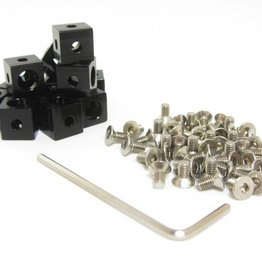 MakerBeam - 10x10mm aluminum profile Corner cubes (12p) black for MakerBeam - 10mmx10mmx10mm