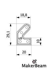 MakerBeam - 10x10mm aluminum profile 12 pieces of MakerBeam 45 degree brackets