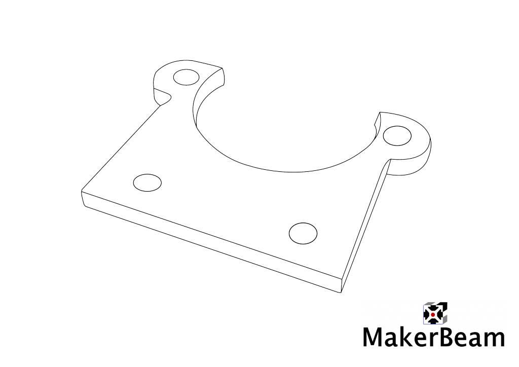 MakerBeam 1 piece Stepper bracket flat for MakerBeam