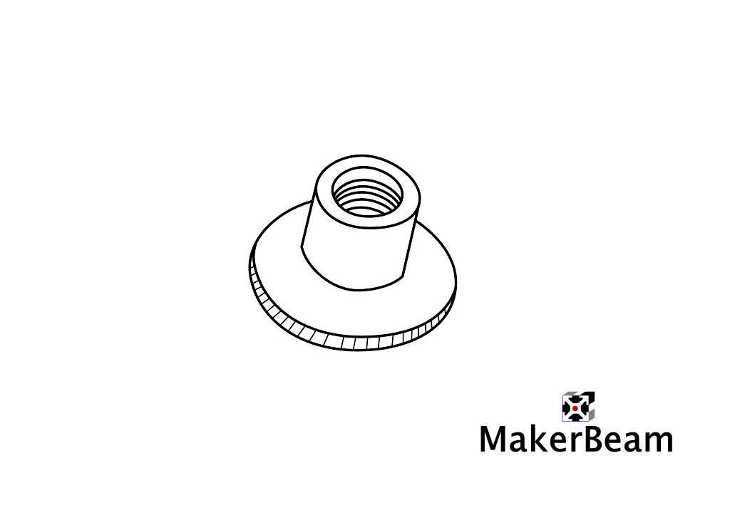 MakerBeam 4 pieces, M3 knurled nuts compatible with both MakerBeam and OpenBeam bolts