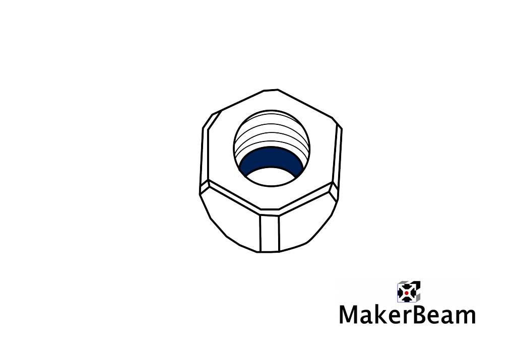 MakerBeam - 10x10mm aluminum profile 100 pieces, M3 self locking nuts compatible with both MakerBeam and OpenBeam bolts