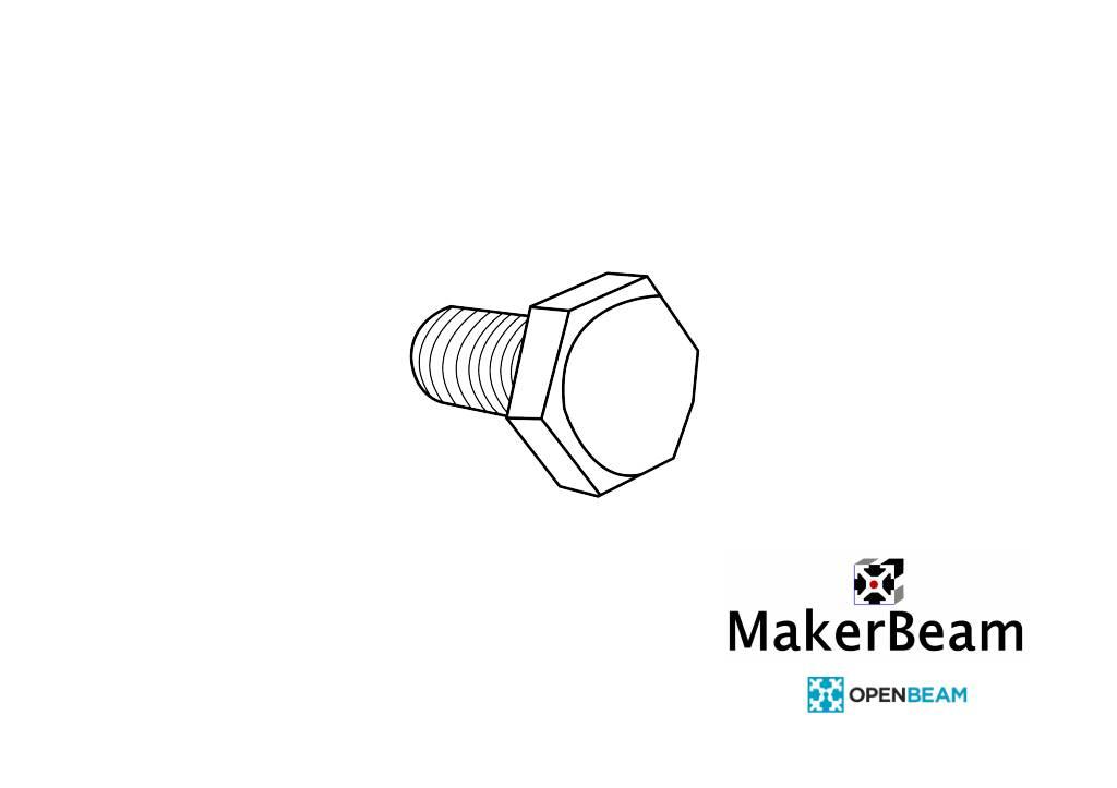 OpenBeam - 15x15mm aluminum profile 100 pieces, M3, 6mm, hexagon head bolts for OpenBeam