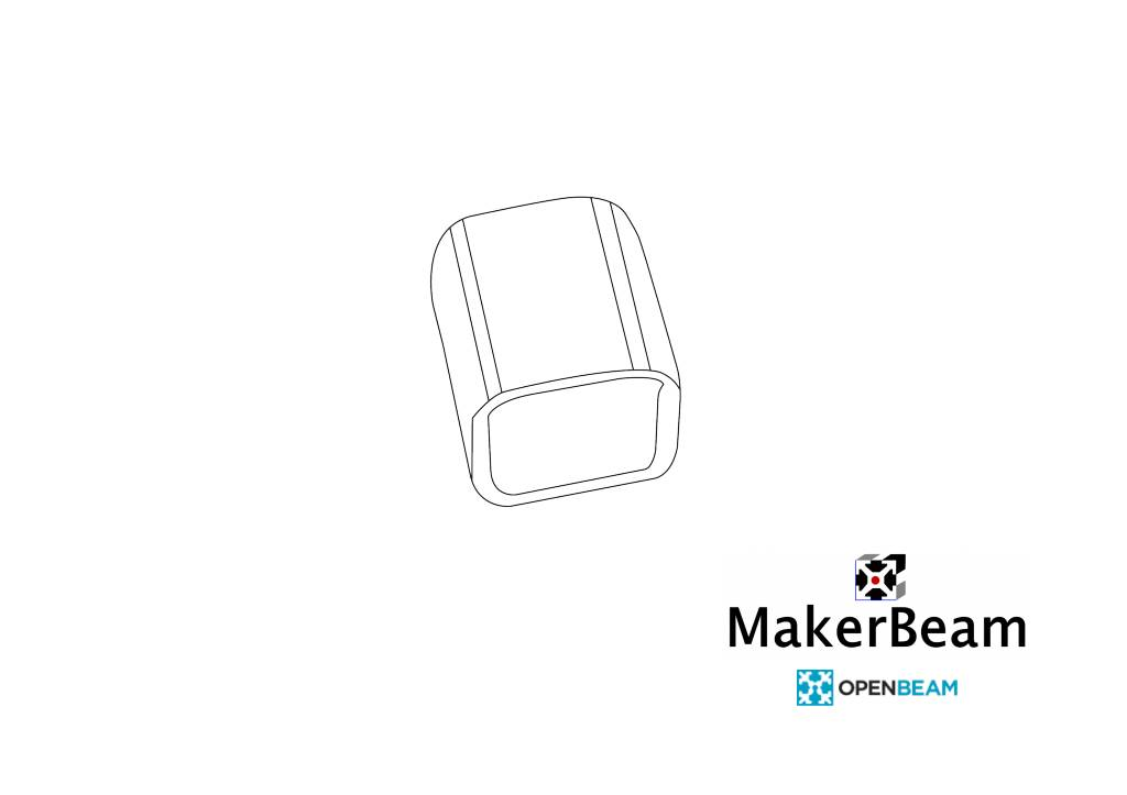 MakerBeamXL Vinyl End Caps Black for MakerBeamXL and  OpenBeam
