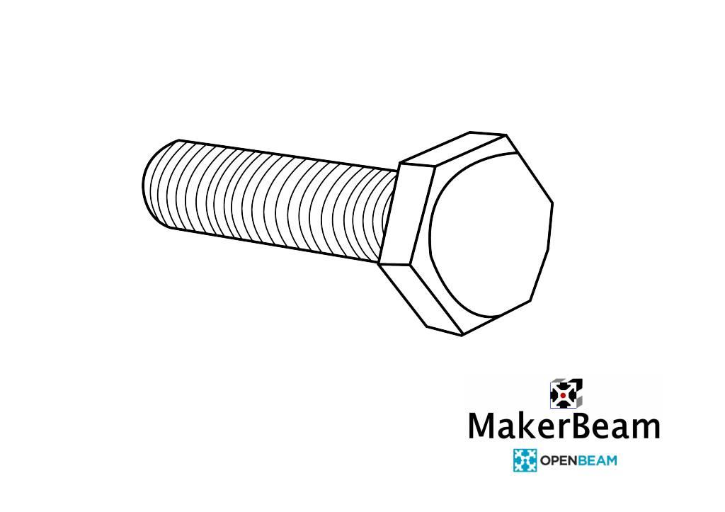 OpenBeam - 15x15mm aluminum profile 25 pieces, M3, 25mm, hexagon head bolts for OpenBeam