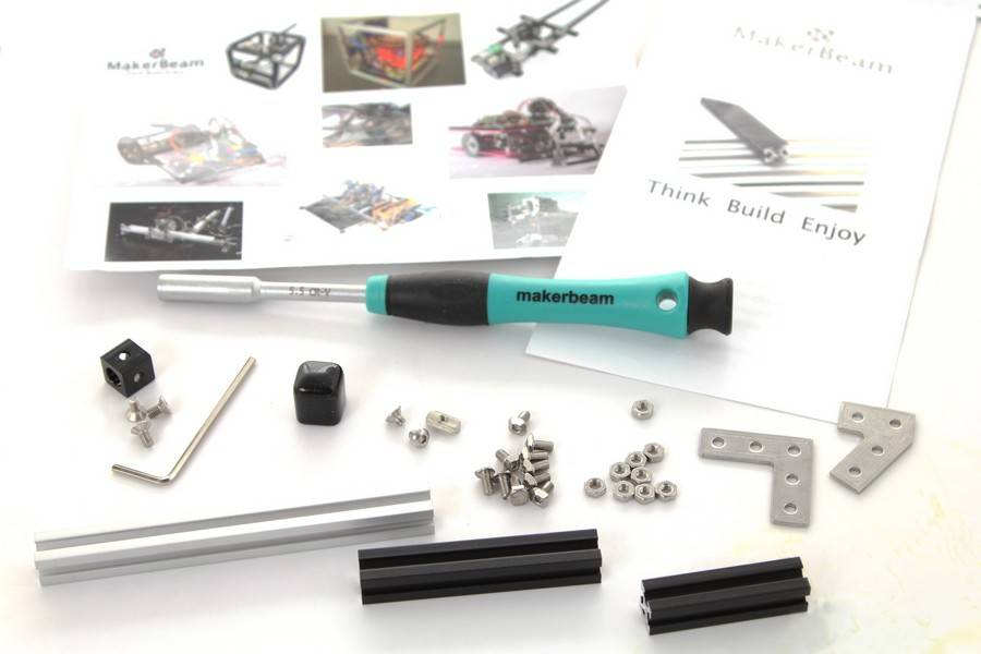 MakerBeam Sample bag with hex nut driver, makerbeams and more