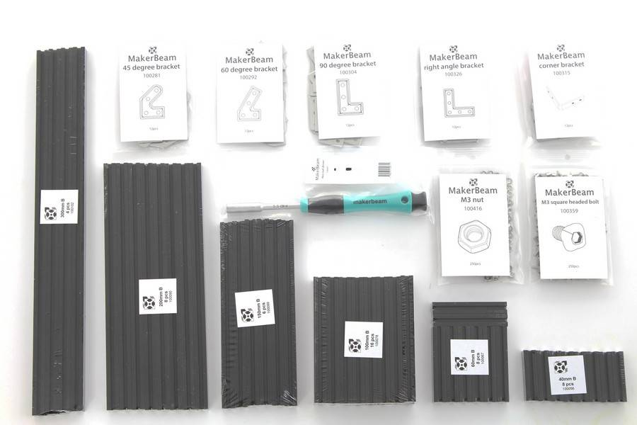 MakerBeam - 10x10mm aluminum profile Black Starter Kit Regular MakerBeam