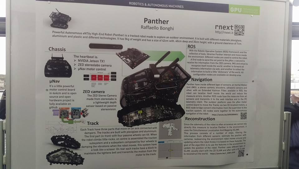 Panther's heartbeat consists of NVDIA Jetson TX, ZED stereolabs camera and µNav motor control board.