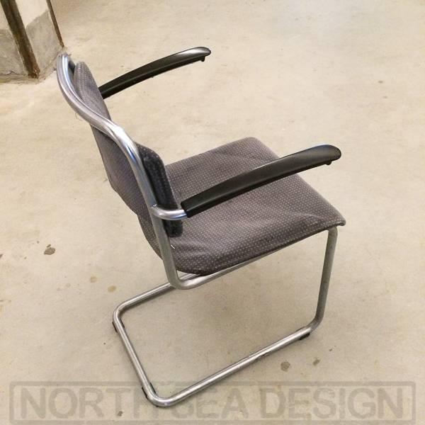 Gispen stoel model 201, zwarte vintage kantoor sledestoel   NORTH SEA DESIGN