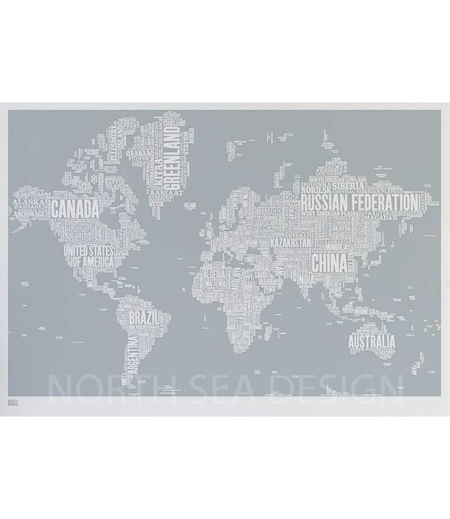 Bold & Noble World Type Map Screen Print