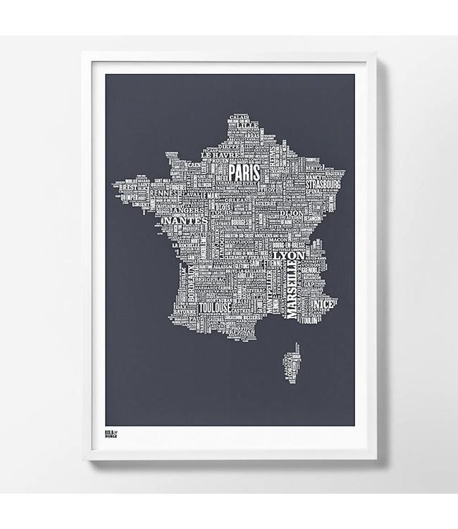 Bold & Noble Type map Frankrijk Donker grijs