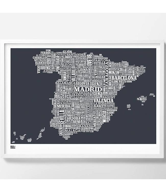 Bold & Noble Type Map Spain | dark grey