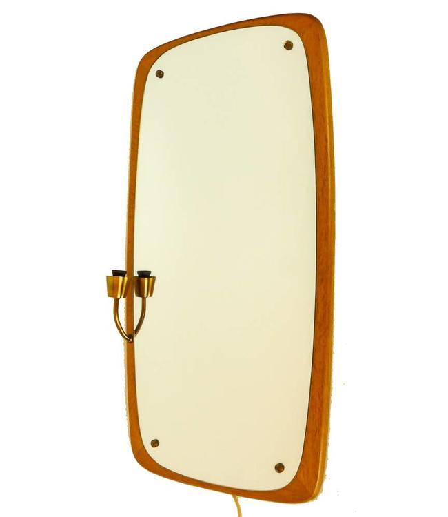 Vintage Teak Spiegel met verlichting
