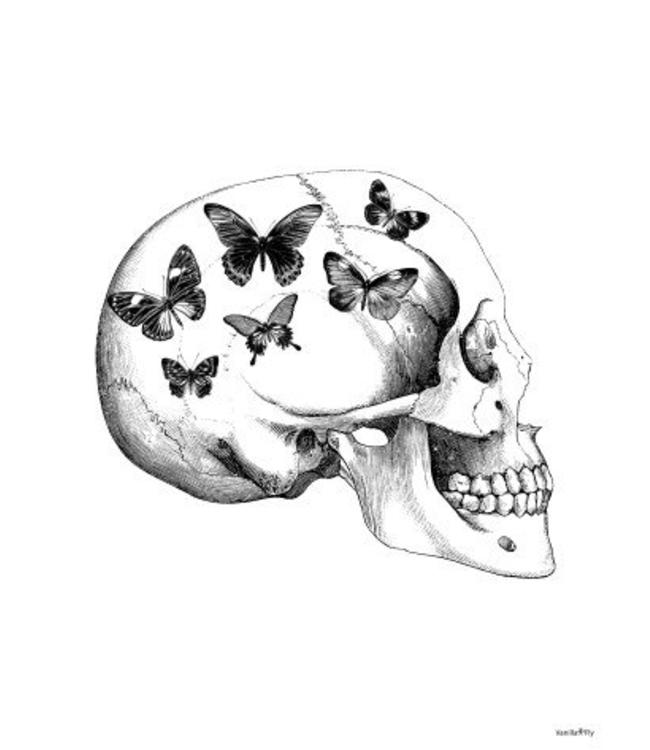 Vanilla Fly Print | SKULL WITH BUTTERFLIES