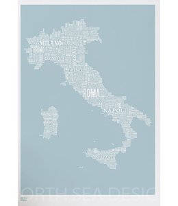 Bold & Noble Type Map Italy | Ice Blue