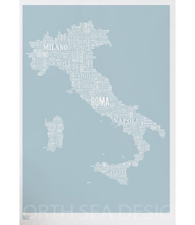 Bold & Noble Zeefdruk Type Map Italië Blauw
