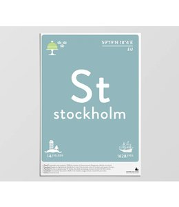 Label of the Elements Poster Stockholm A3