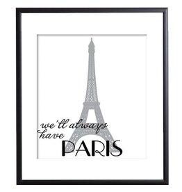Paris - Plakat mit Passepartout im schwarzen Rahmen