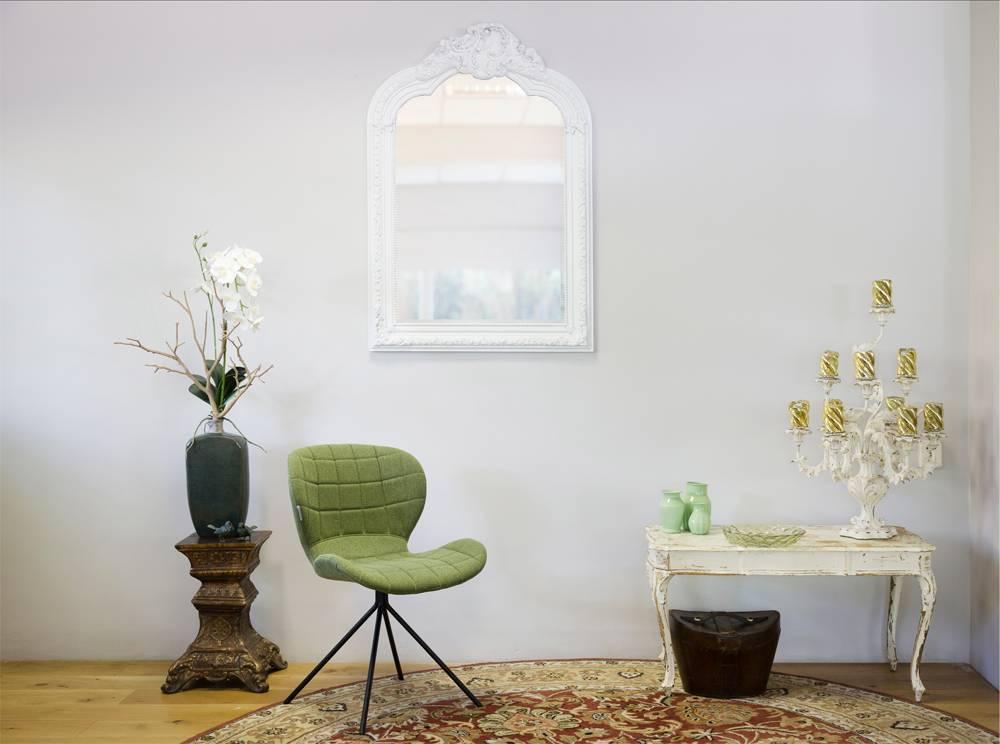 Spiegel mit weißem Barock-Rahmen