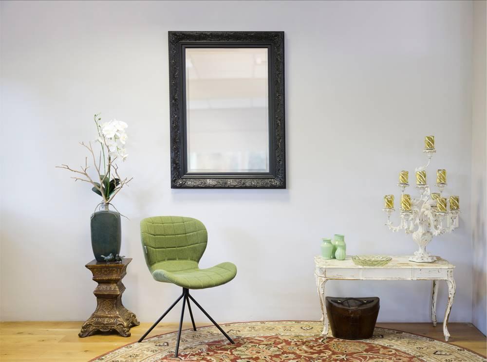 Turin - Atmosphärischer Spiegel mit schwarzem Barockrahmen