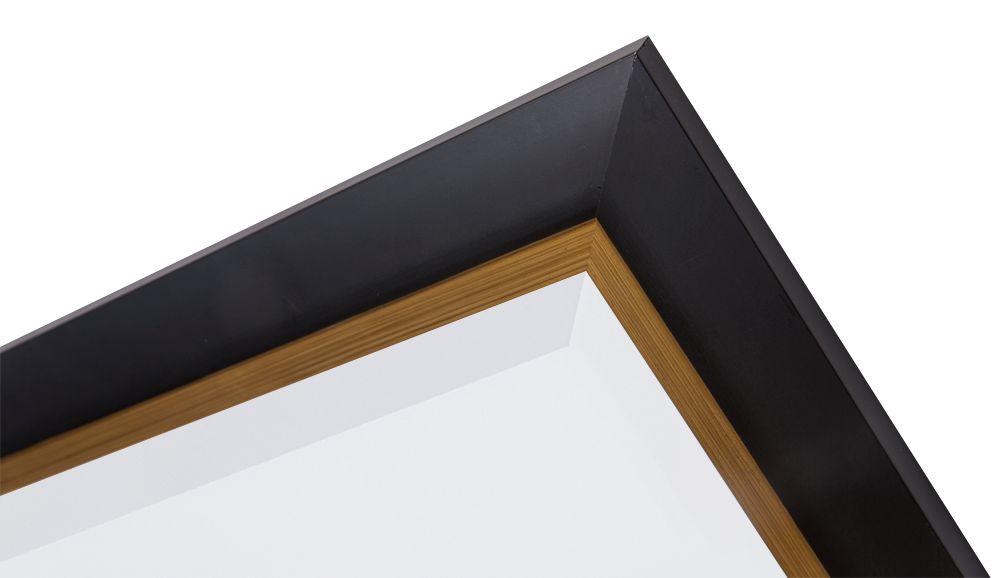 firenze moderner schwarzer spiegel mit goldenem innenrand. Black Bedroom Furniture Sets. Home Design Ideas