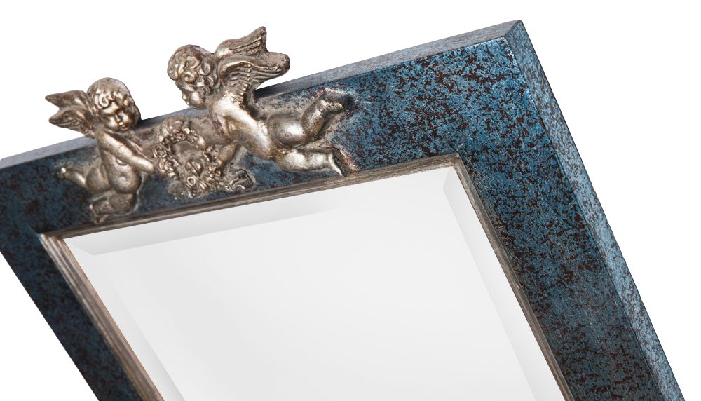 Spiegel mit blau-silbernem Rahmen