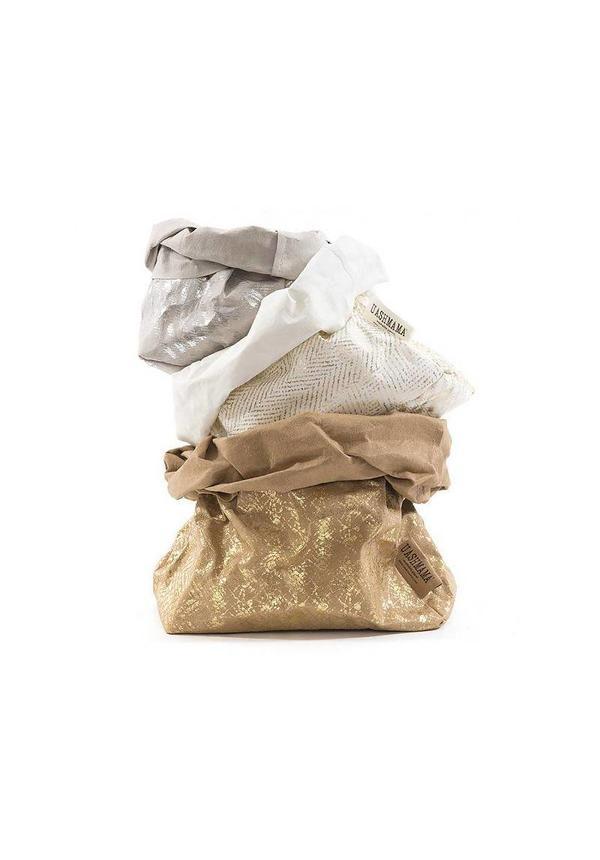 Paper Bag Modern Print White/Gold