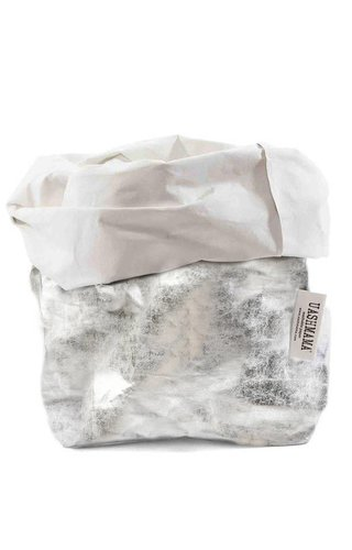 UASHMAMA® Sac en papier Nuvola Blanc / Argent