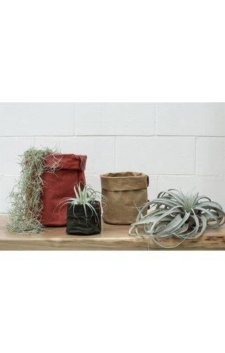 UASHMAMA® Paper Bag Round Tec D. Green