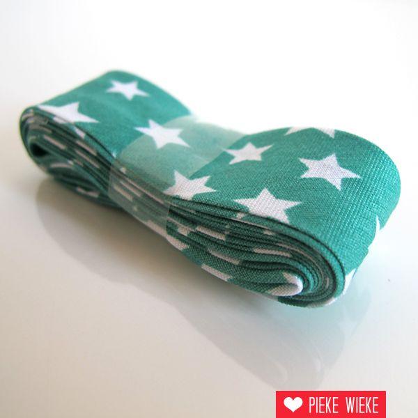 Biais met sterren, blauwgroen, voorverpakt 2 meter