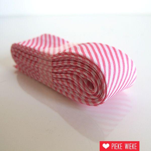 Biais met streepjes, roze, voorverpakt 2 meter