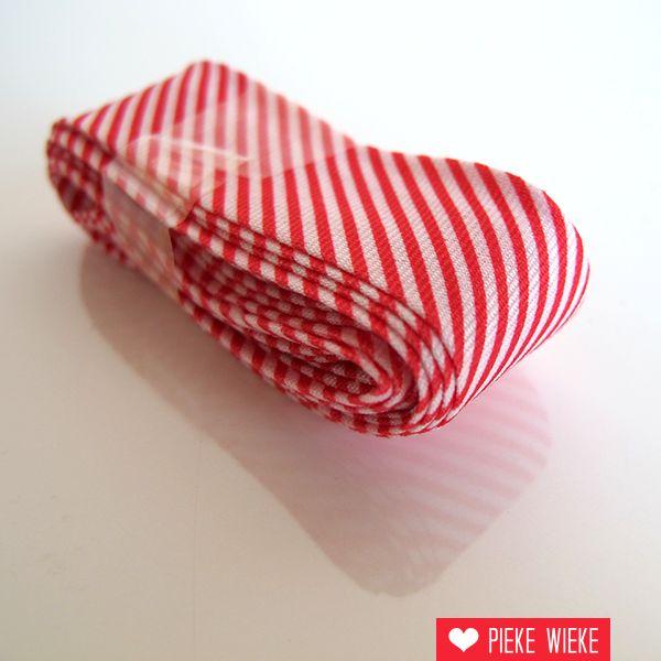 Biais met streepjes, rood, voorverpakt 2 meter