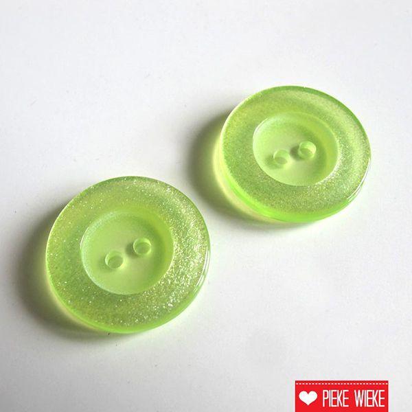 Transparante limoengroene knoop 20mm