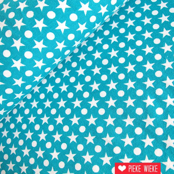 Tricot Stardots turquoise