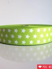 Tassenband sterren limoen 30mm