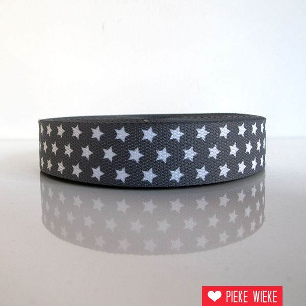 Tassenband sterren grijs 30mm