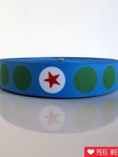 Tassenband ster in stip blauw